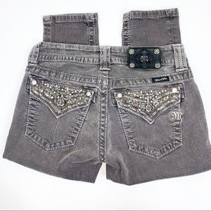 MISS ME 26x30 Denim Jeans Bling Flap Pocket Gray